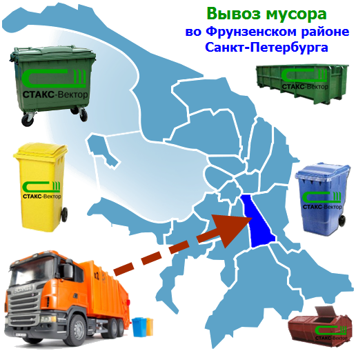 Вывоз мусора во Фрунзенском районе СПб