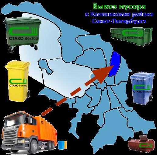 Вывоз мусора в Калининском районе СПб