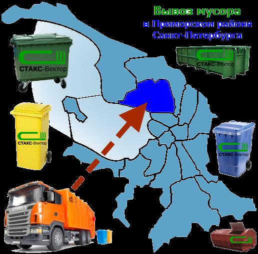 Вывоз мусора в Приморском районе СПб